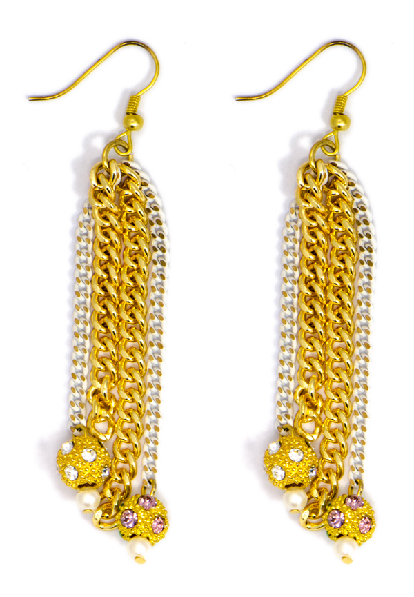 White Chain Earrings