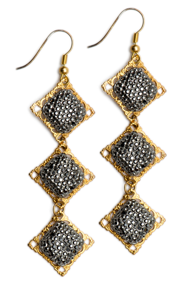 Golden Gunmetal Earrings